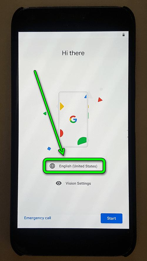 google pixel xl - настройка с 0 - выбор языка